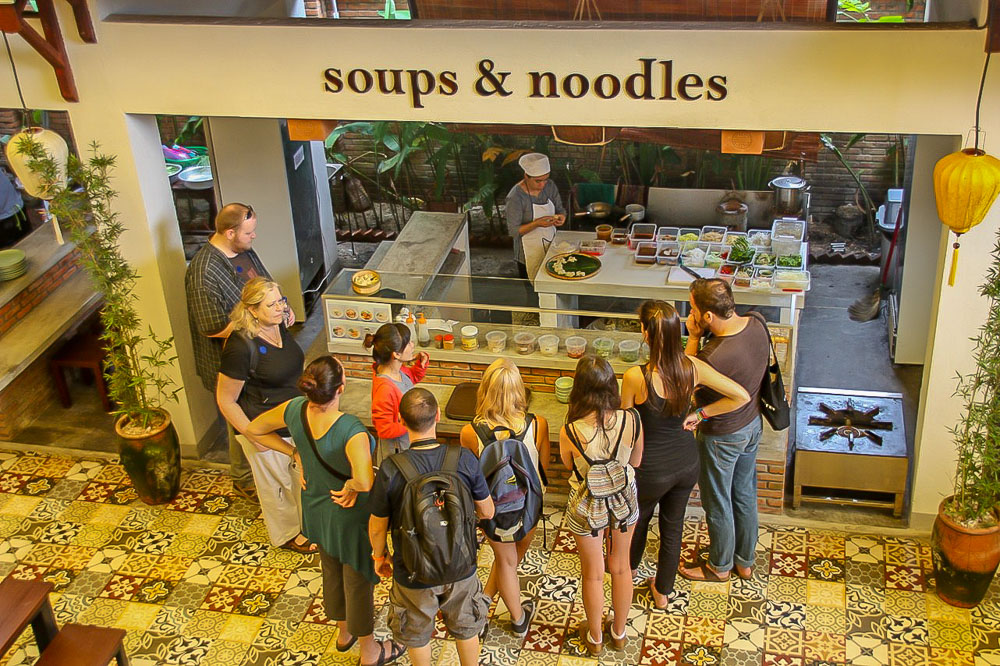Vy's Market Restaurant and Cooking School. Soup demonstration, Hoi An