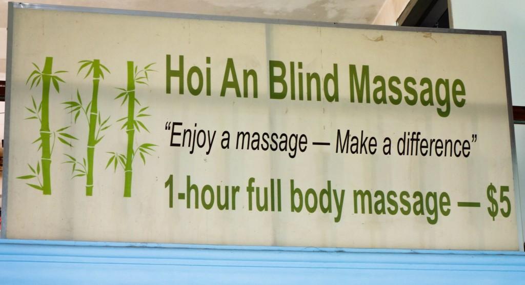 1 hour full body massage $5 Hoi An Blind Massage sign