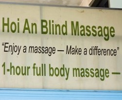 1 hour full body massage $5 Hoi An Blind Massage sign