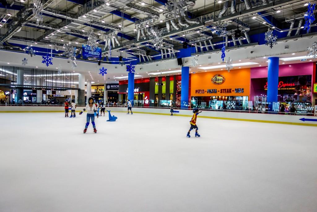 kids children on ice skating rink, Vinpearl land, Da Nang, Vietnam