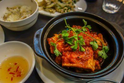 Tofu with tomato sauce, Am Vegetarian restaurant, Hoi An