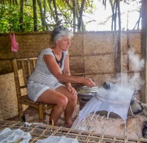 Tra Que Waterwheel Organic Farm Cooking Class, Hoi An, Vicky Sanders, Making rice paper_