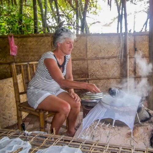 Tra Que Waterwheel Organic Farm Cooking Class, Hoi An, Vicky Sanders, Collecting river weed
