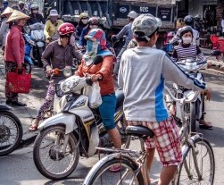 Motorbike and car licenses in Vietnam, traffic on the road and congestion on roads