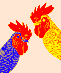 rooster wall paintings hoi