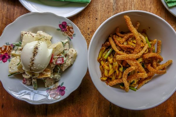 Nu Eatery, Hoi An, potato salad with boiled egg, olives and beans; rice fettucine with spicy pork_opt