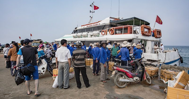 Boarding the ferry on Lỳ Sơn Island
