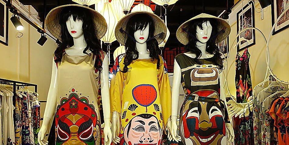 Hoi An Boutiques, hoi an, vietnam designer wear, Lucys Dream, linda mai phung, art wear, wearable art, clothes, ready to wear, dresses, tops, blouses, vietnam souvenirs,