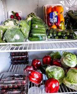Nga Hang Convenience Store, Hoi An, Vietnam inside fridge pre-packed vegies