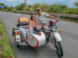 Vintage Sidecar to Son Tra, Da Nang. Sidecar on the move