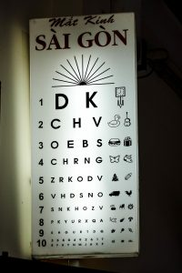 Sai Gon Optical, Hoi An, eyes checking board