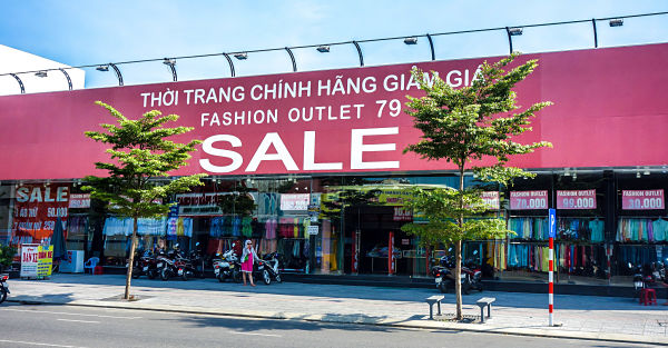 Cheap clothes on Le Duan Street in Da Nang, Vietnam