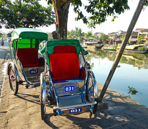 cyclos and a good way of getting around in hoi an, vietnam