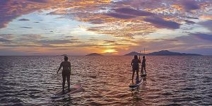 Sunrise with Monkey SUP, 3 paddle boarders_opt