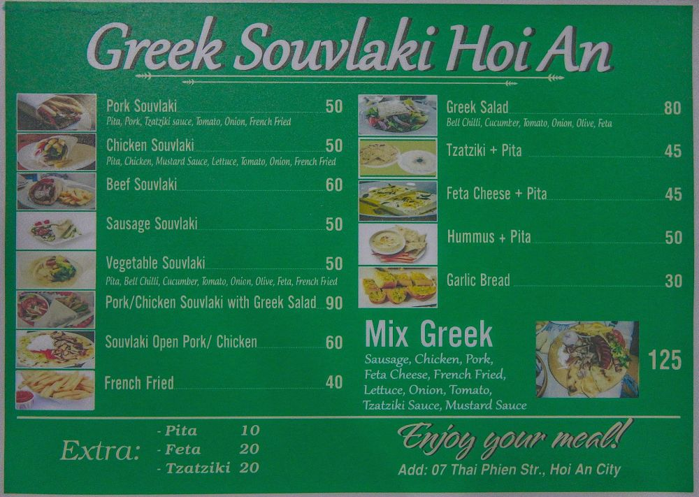 Greek Souvlaki menu. Hoi An delivery menus