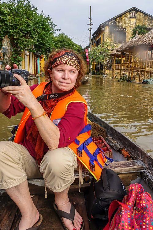 Rainy Season. Floods in Hoi An: 2016. Hoi An's Rainy Season. Sharon with camera