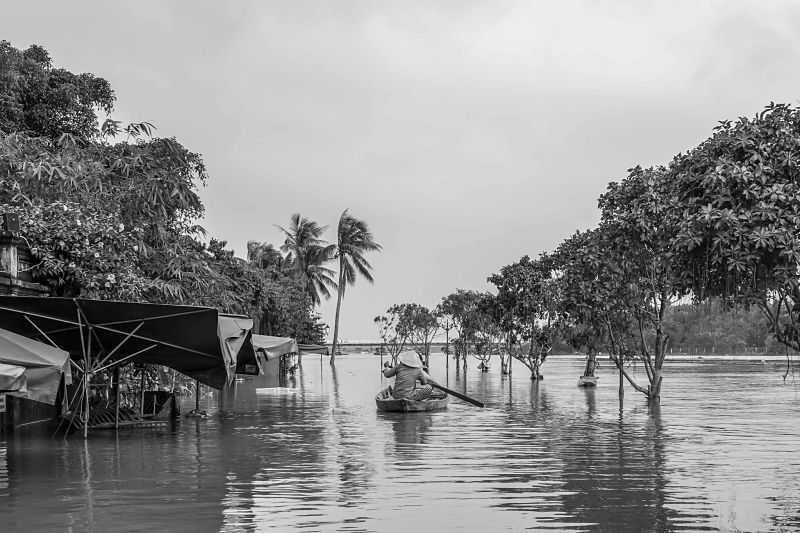 Rainy Season. Floods in Hoi An: 2016. Hoi An's Rainy Season. Boating down Bang Dang Street