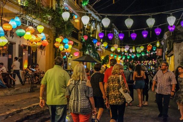 night, street, lantern festival, full moon