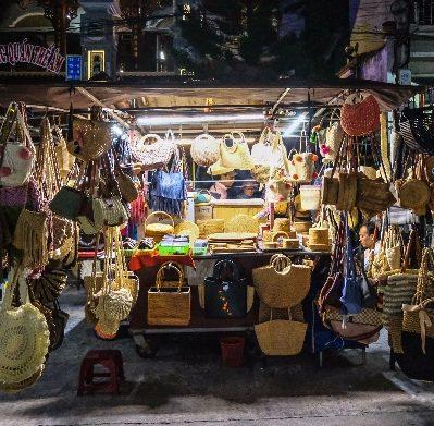 night, street, lantern festival, full moon, night market, stall
