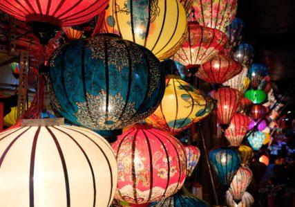 lantern festival, night market, night, street, lanterns, full moon