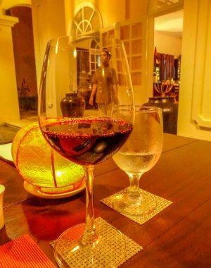 Hoi An Riverside restaurant. Wine glass