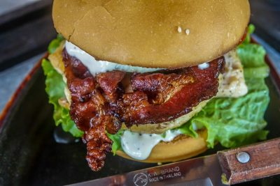 The Filling Station. Chicken Burger with Bacon