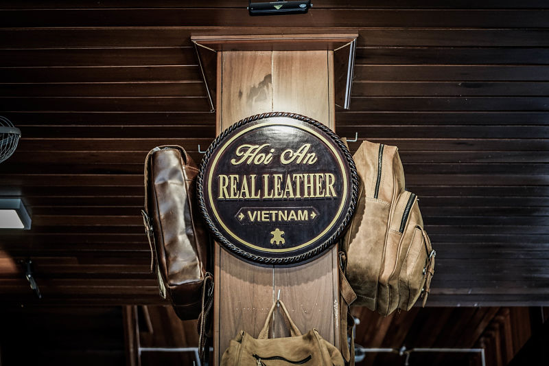 Real leather sign