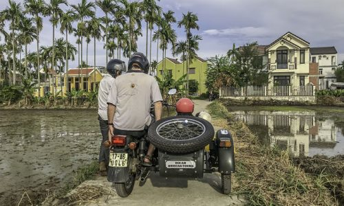 Hoi An Motorcycle Adventures. Hoi An Sidecar Tours. Rice Fields