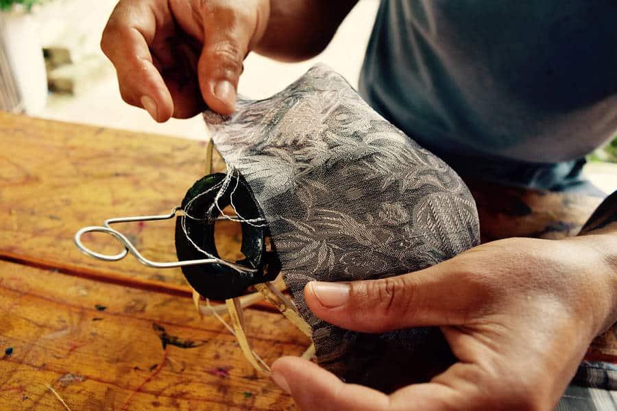 Lantern making Hoi an, man making a lanter at Pho Hoi Lantern Workshop Hoi An