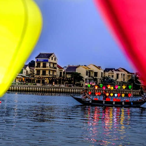 Hoi An with Kids, boat at night on Thu Bon River